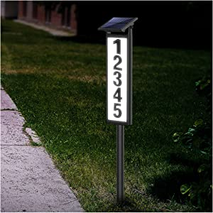 House Numbers Address Plaques for House Driveway Marker Street Sign Lighted Modern House Numbers Solar Address Light Sign Led Letters for Yard Street Door Outdoor Home with Stake (Height 35 Inches)