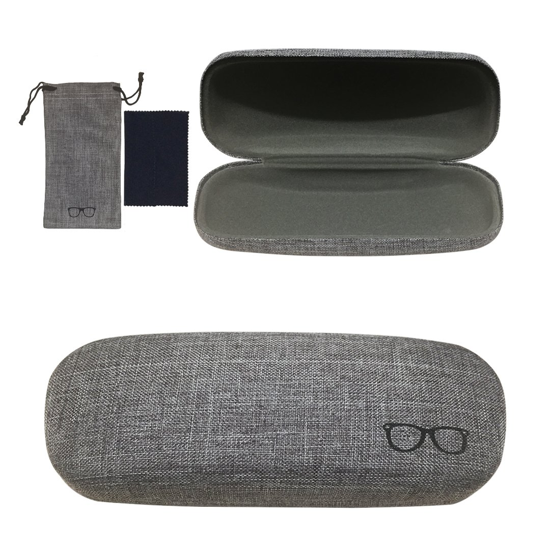 Yulan Hard Shell Glasses Case,Linen Fabric Case for Eyeglasses and Sunglasses(Includes Glasses Pouch)(Grey)