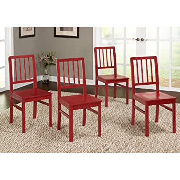 Target Marketing Systems Camden Collection Modern Slatted Back Dining Chairs Set Of 4 Red