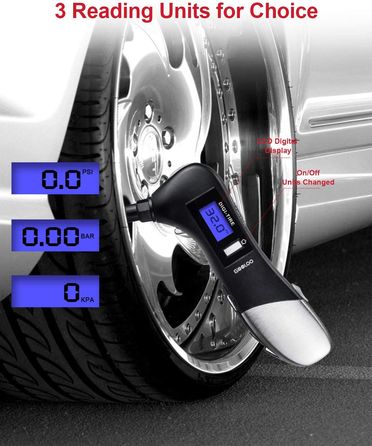 GOOLOO Tire Gauges 150 PSI Digital Tire Pressure Gauge with LCD Display and LED Flashlight for Car Truck Motorcycles Bicycle Multifunction 9 in 1 Car Gadget 1 Pack