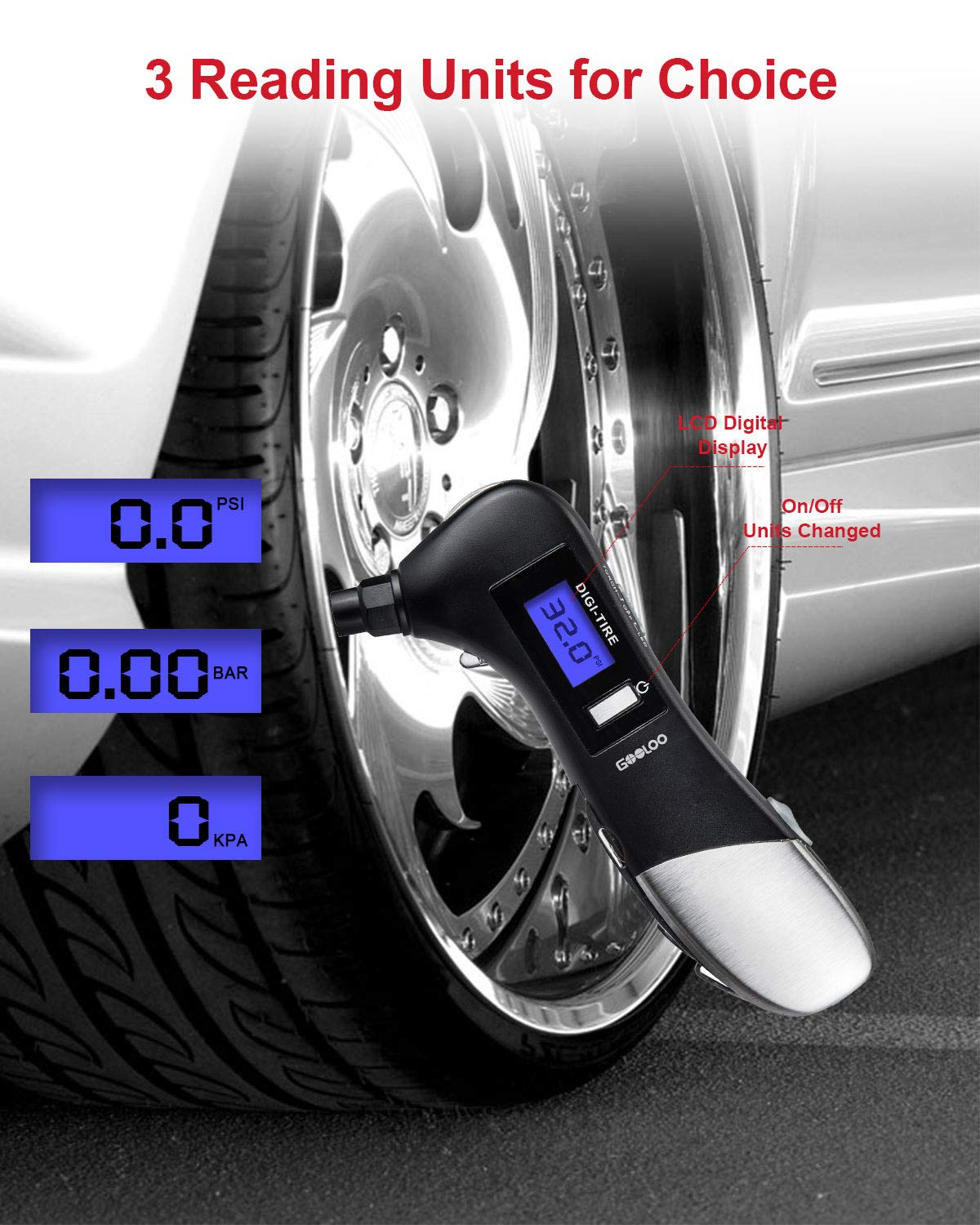 1 Pack GOOLOO Tire Gauges 150 PSI Digital Tire Pressure Gauge with LCD Display and LED Flashlight for Car Truck Motorcycles Bicycle Multifunction 9 in 1 Car Gadget