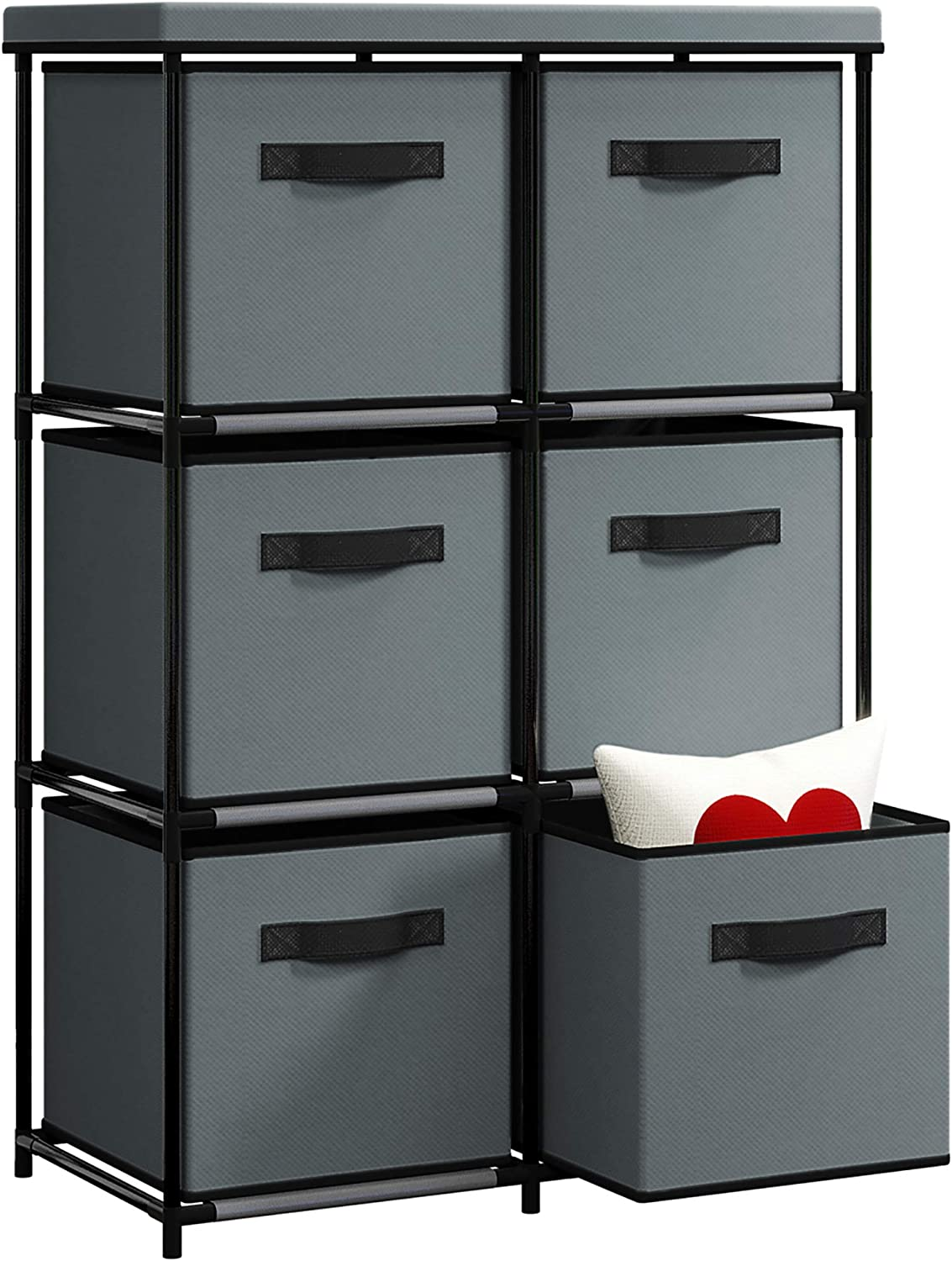 HOME BI 6 Drawer Dresser Storage Organizer, Fabric Dresser with Large Capacity, Organizer Unit for Bedroom Living Room, Sturdy Steel Frame with Easy Pull Fabric Bins for Clothing (Grey)