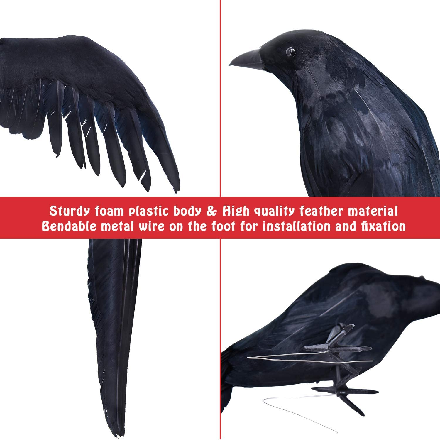 Large Handmade Crow Prop for Indoor Outdoor Ravens Birds Decoration 2-Pack 14.5inch Halloween Black Feathered Crows GEJRIO Halloween Realistic Crows