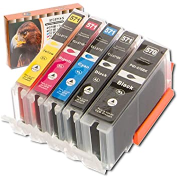 ESMOnline 5 comp. XL Cartuchos de impresora para Canon Pixma MG 5700 5750 5751 5752 5753 6800 6850 6851 6852 6853 7700 7750 7751 7752 7753