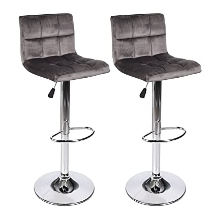 Incredible Walomes Set Of 2 Barstool Velvet Fabric Cushion Chair Adjustable Swivel Counter Top Home Bralicious Painted Fabric Chair Ideas Braliciousco
