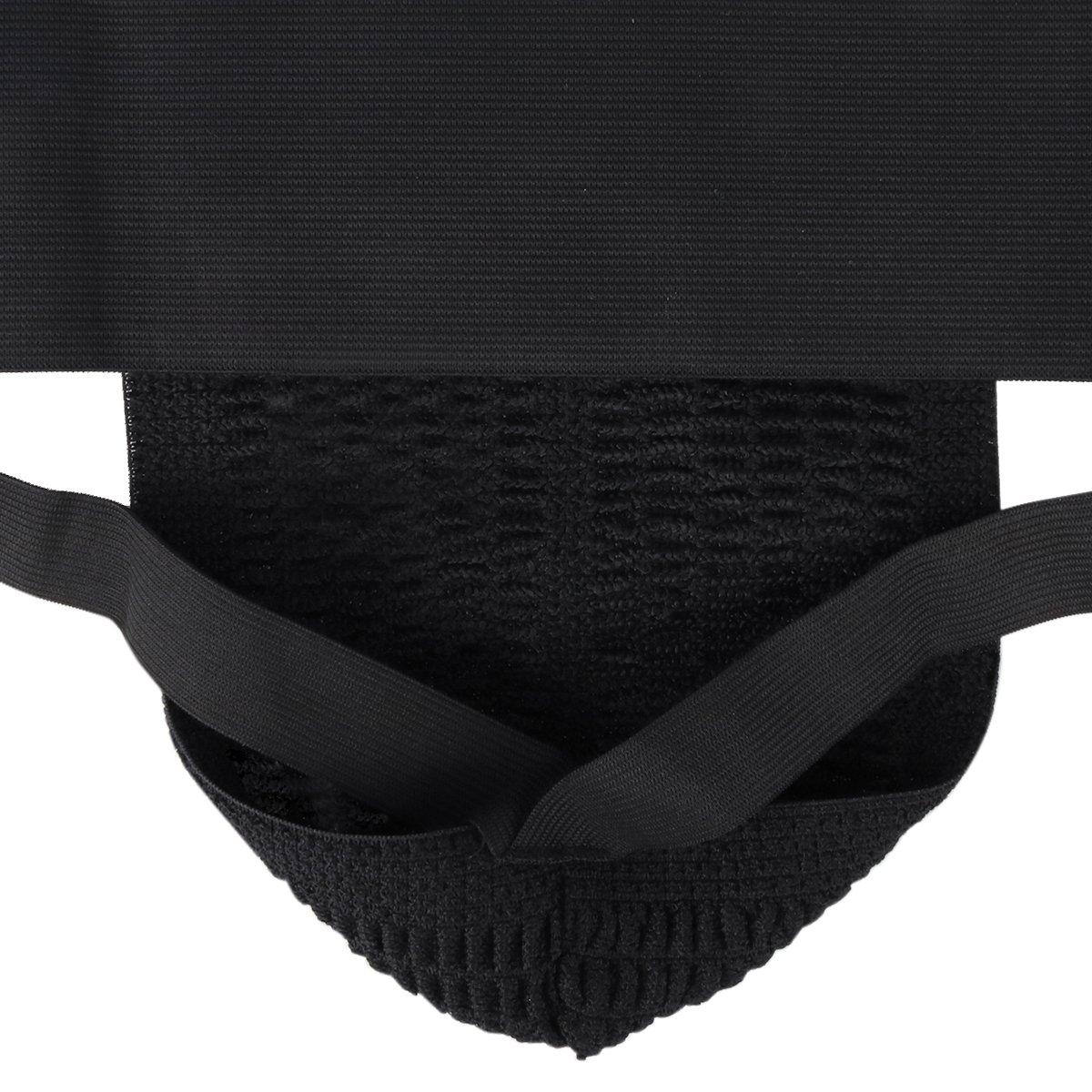iEFiEL Men Wide Waistband Athletic Supporter Jockstrap Breathable Underwear Black S (Waistline 27.5-39)