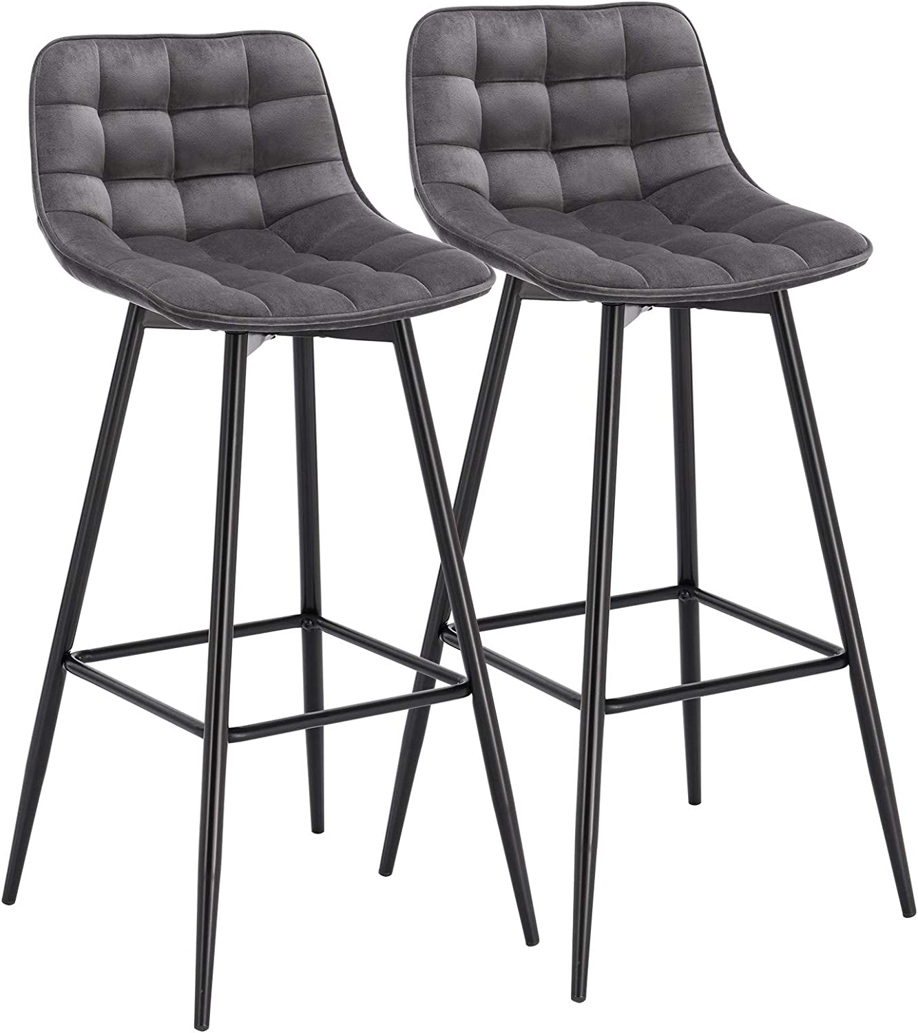 HOMCOM Set Of 2 Bar Stools Vintage PU Leather Tub Seats Padded Comfortable Steel Frame Footrest Quilted Home Business Bar Cafe Kitchen Chair Stylish Brown