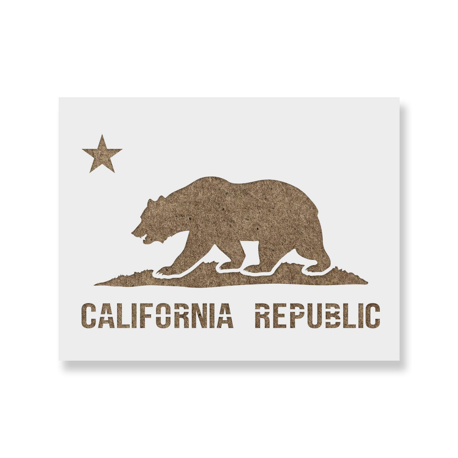 California Flag Stencil Template - Reusable Stencil with Multiple Sizes Available