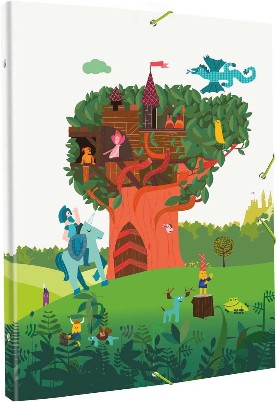Edima School Kits - Carpeta encuadernada con gomas, diseño Castillo en el Árbol