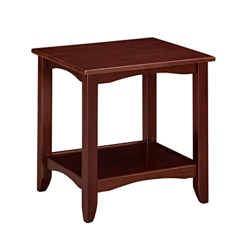 Ravenna Home Dora Classic Shelf Storage Wood Side End Table, 22 W, Dark Espresso