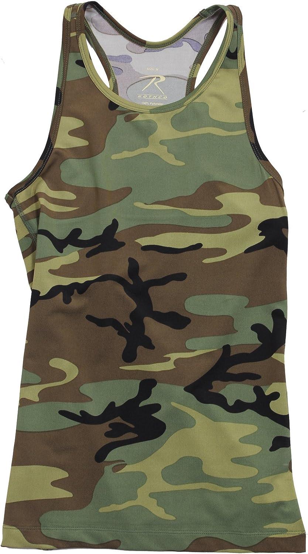 TCA Camo Print Womens Sports Vest Black Soft Touch Gym Running Training Tank Top