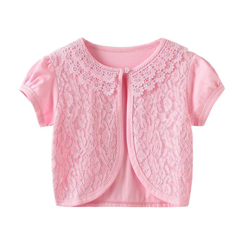 CHENXIN Girls Shrug Knit Short Sleeve Lace Bolero Cardigan Shrug (Pink 2, 7-8T)