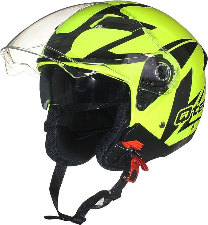 JET Helm Casque de moto FACE OUVERTE M Double Visi/ère Scooter JAUNE Fluorescent Pare Soleil Interne 57-58cm