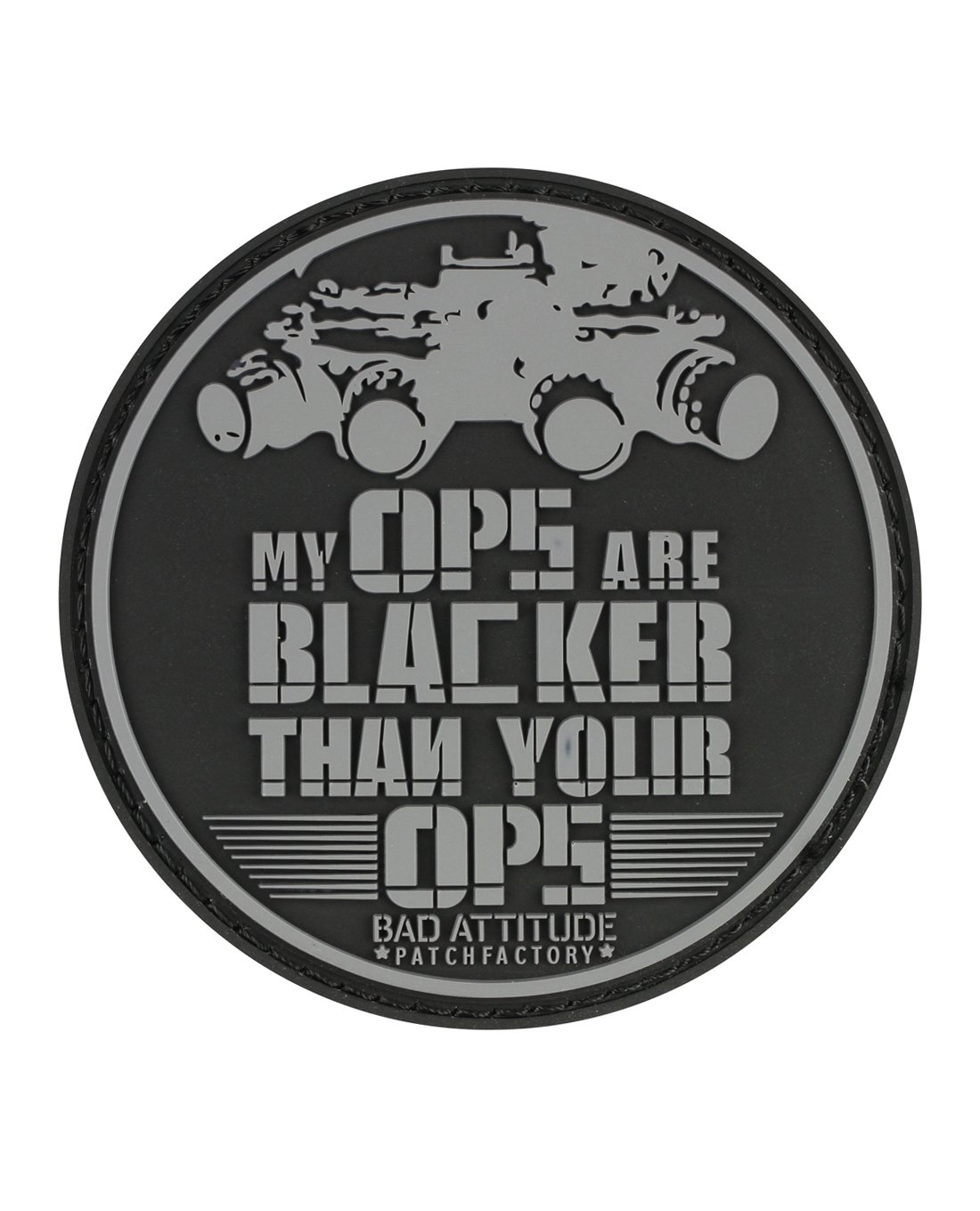 TACWRK My OPS Are Blacker Than Your OPS 3D PCV Rubber Patch mit Klett Bad Attitude Patch Factory DE_TW_S_1363_My_OPS_Are_Blacker_Patch
