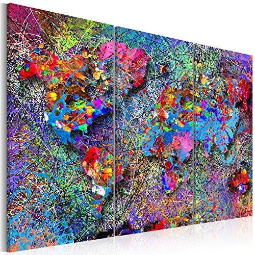 Bilder 120x80 cm - 3 Farben zur Auswahl - XXL Format - TOP Vlies Leinwand - 3 Teilig - Wand Bild Kunstdruck Wandbild - Weltkarte Welt Karte Kontinent Landkarte k-A-0076-b-f 120x80 cm B&D XXL
