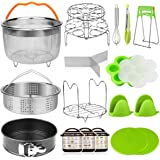 Aiduy 18 pieces Pressure Cooker Accessories Set Compatible with Instant Pot 6,8Qt - 2 Steamer Baskets, Springform Pan, Stacka