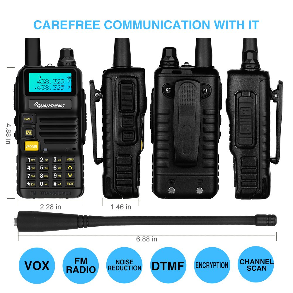 Quansheng UV-R50 Rechargeable Dual Band Two-Way Radios with Earpiece Long Range Walkie Talkies (136-174MHz VHF & 400-520MHz UHF) Ham Amateur Radio Li-ion Battery and Charger Included by QUANSHENG (Image #2)