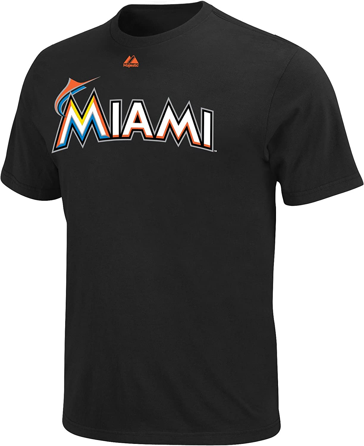 Majestic Miami Marlins Two-Button Mens Jersey T-Shirt