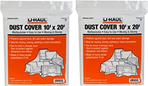 U-Haul Dust Covers - Furniture Protection for Moving, Renovations, and Storage - Water Resistant - 10' x 20' Plastic Sheets - Pack of 2 Covers