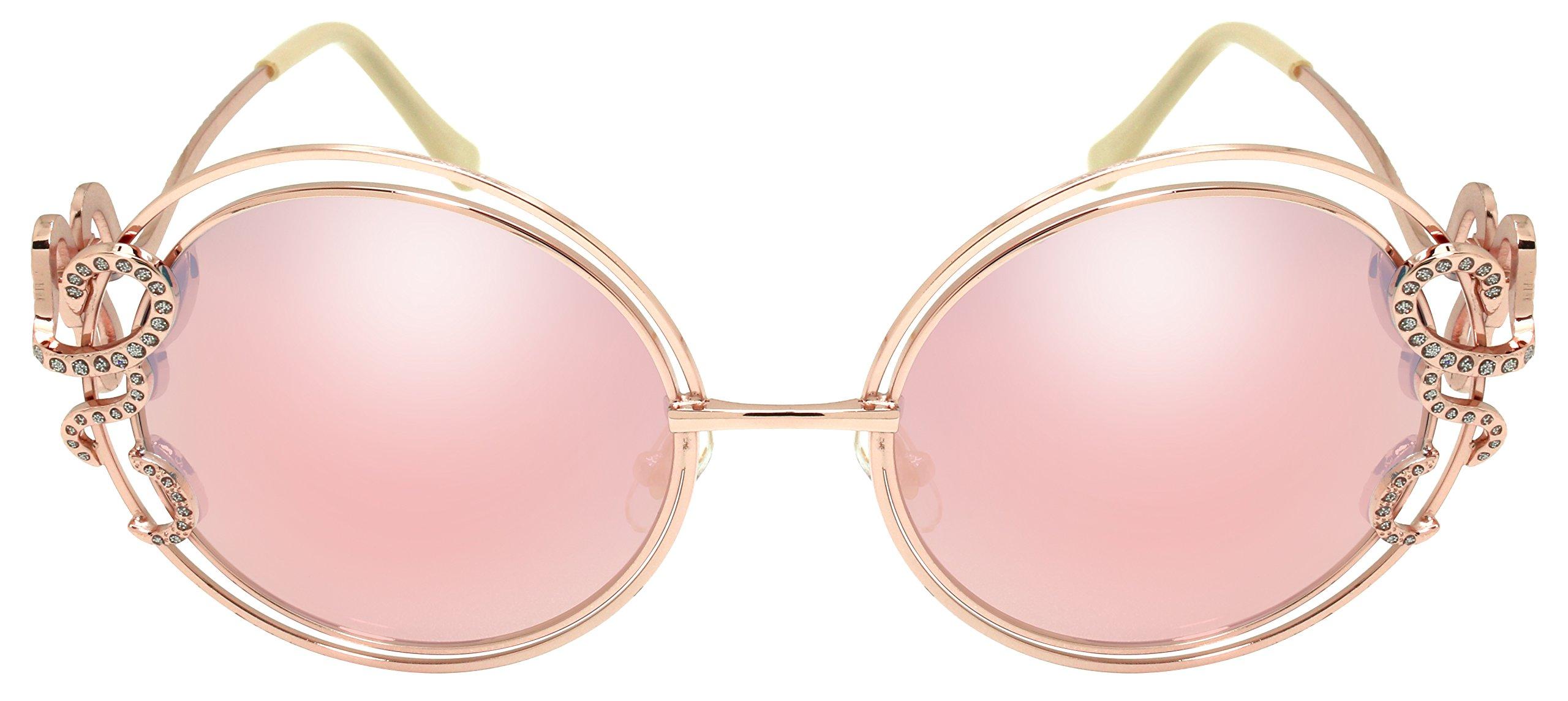 Edge I-Wear Fashion Round Rhinestone Women Sunglasses w/Mirrored Lenses 3195R-REV-4(pkrev)