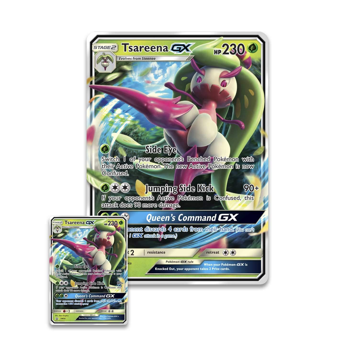 TCG: Tsareena-Gx Box - 4 Booster Pack with A Foil Promo Card & 1 Foil Oversize Card