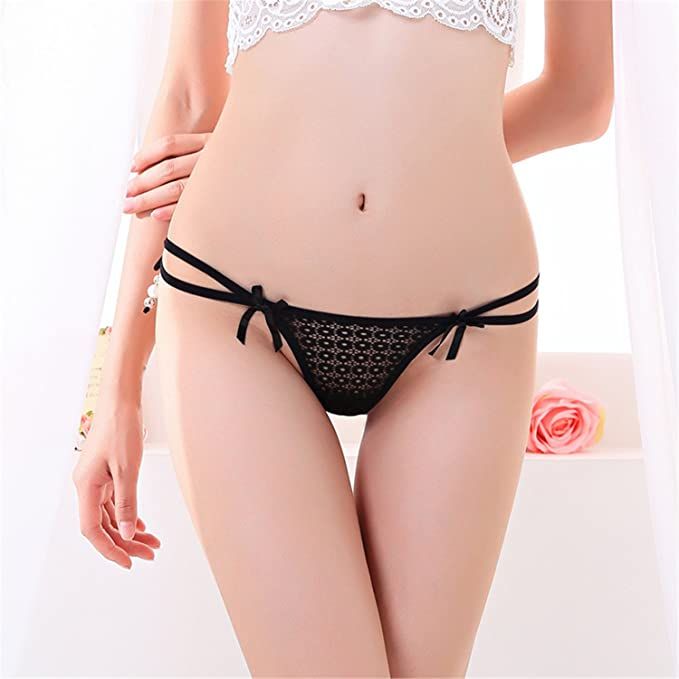 Women Sexy Lingerie Low Waist Lace Thong Panty G String Sexy Bragas Women Underwear Black One Size at Amazon Womens Clothing store: