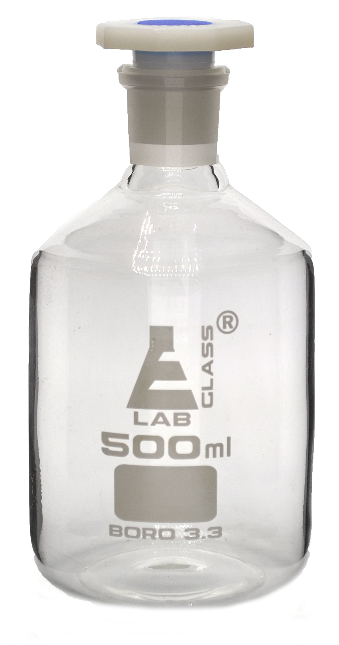 500mL (16.9oz) Glass Reagent Bottle with Acid Proof Polypropylene Stopper, Borosilicate 3.3 Glass - Eisco Labs by EISCO