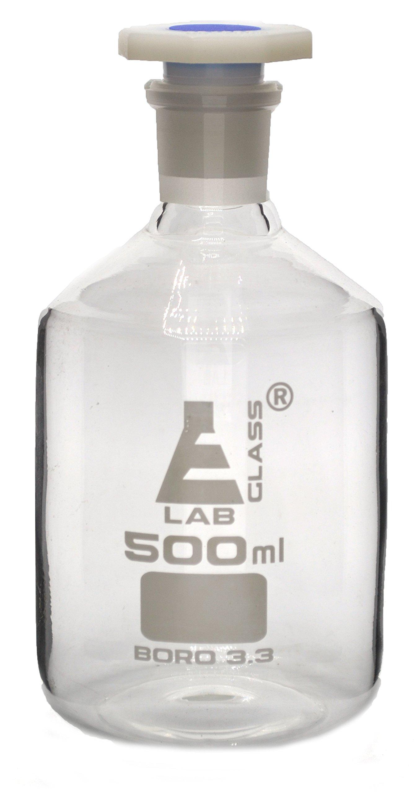 500mL (16.9oz) Glass Reagent Bottle with Acid Proof Polypropylene Stopper, Borosilicate 3.3 Glass - Eisco Labs