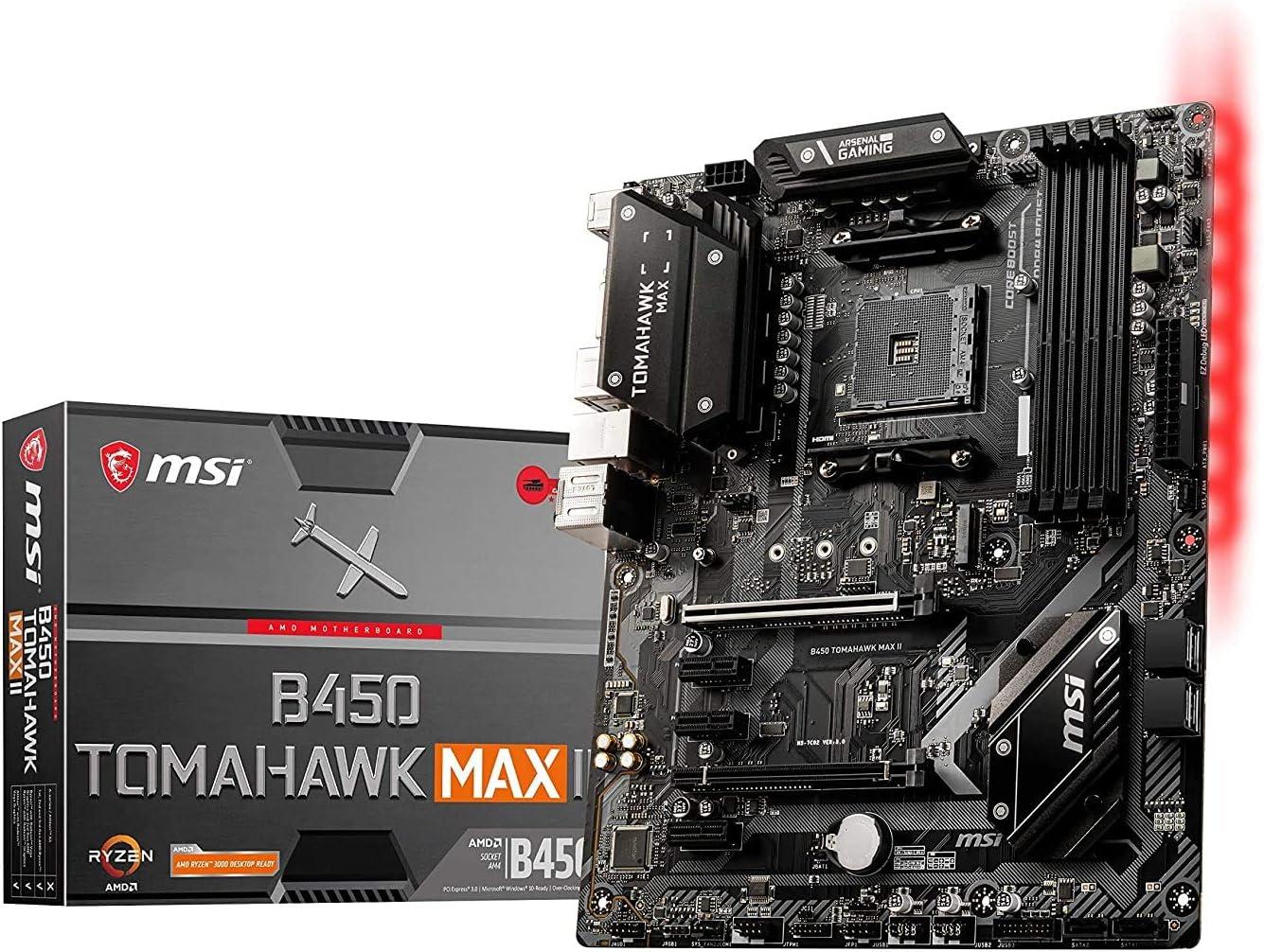 MSI B450 Tomahawk MAX II Placa Base Gaming (AMD Ryzen 3000 3a Gen ryzen AM4, DDR4, M.2, USB 3.2 Gen 1, Wi-Fi, HDMI, ATX)