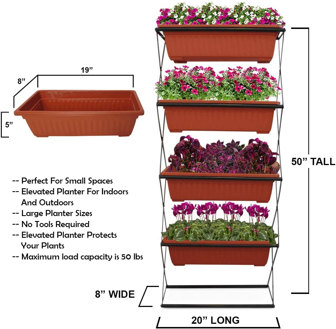 4- FT Freestanding Elevated Garden Planter- 4 Raised Terracotta Plastic Planters - Vertical For Indoor/ Outdoor- Deck, Patio, Balcony, 50 x 20 x 8 inches, Powder Coated Steel Green Frame. No Tools