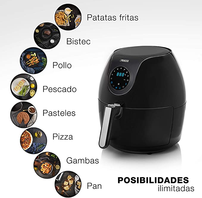 Princess 182050 Family Aerofryer XXL, Freidora de aire caliente digital familiar, 1700 W, 5.2 litros, Negro: Amazon.es: Hogar