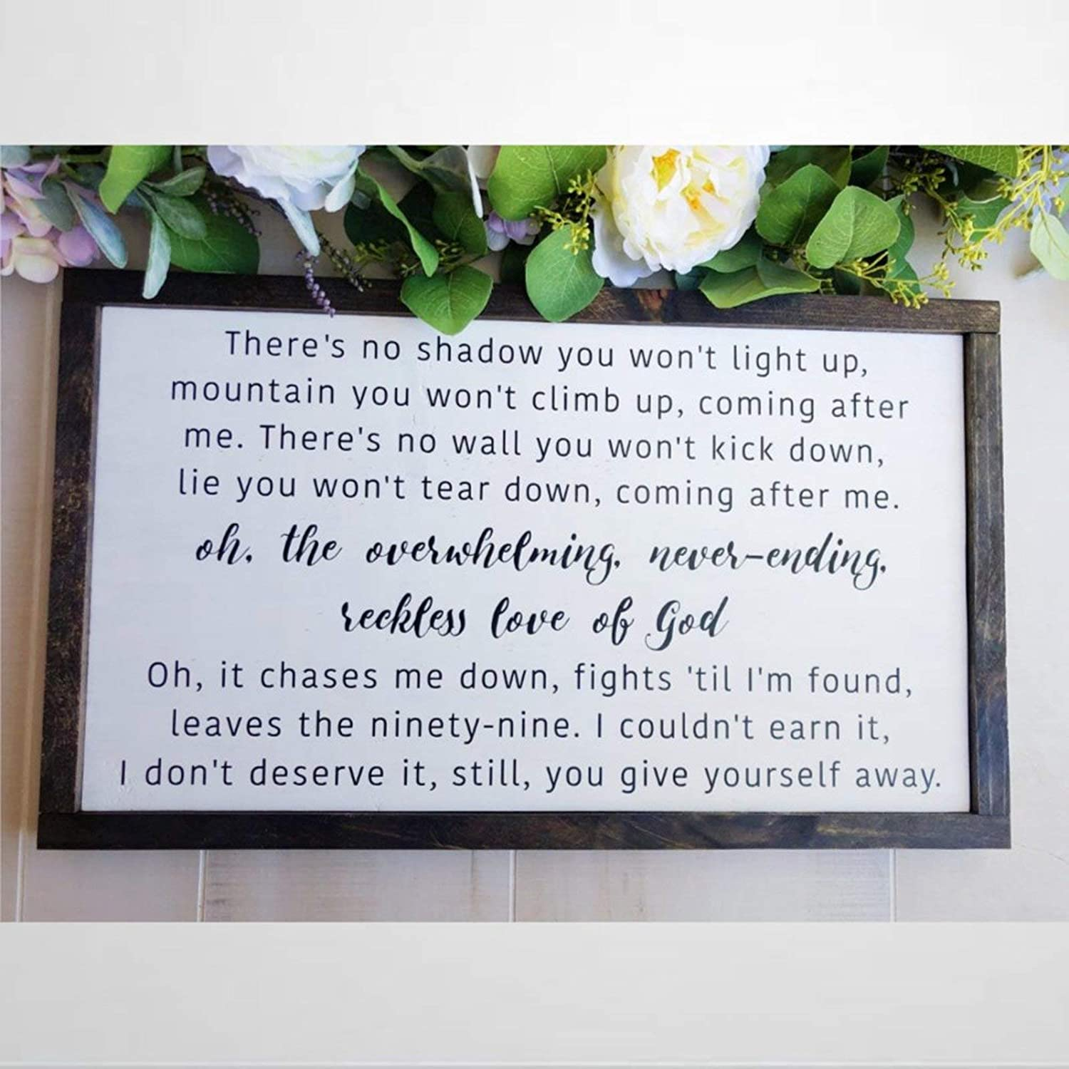 BYRON HOYLE Reckless Love Framed Wood Sign, Wooden Wall Hanging Art, Inspirational Farmhouse Wall Plaque, Rustic Home Decor for Nursery, Porch, Gallery Wall, Housewarming