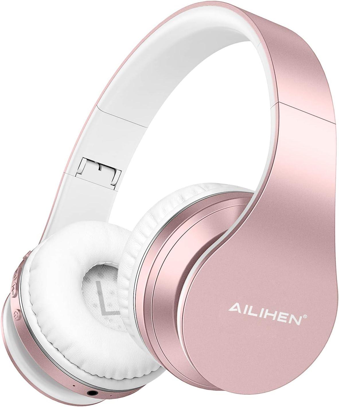AILIHEN A80 Audífonos Inalámbricos Bluetooth 5.0 Plegables sobre Oreja con Micrófono Hi-Fi Estéreo, Soporte con Tarjeta TF, Modo MP3, 25H Tiempo de Reproducción para PC Teléfono Móvil - Oro Rosa