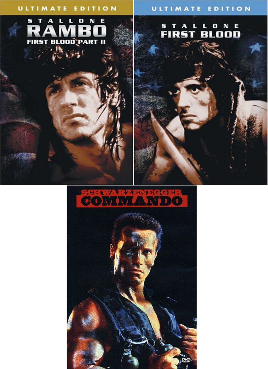 Sly & Arnold First Blood & Rambo Sylvester Stallone + Commando DVD 3 Pack Military Movie Action Set: Amazon.es: Cine y Series TV