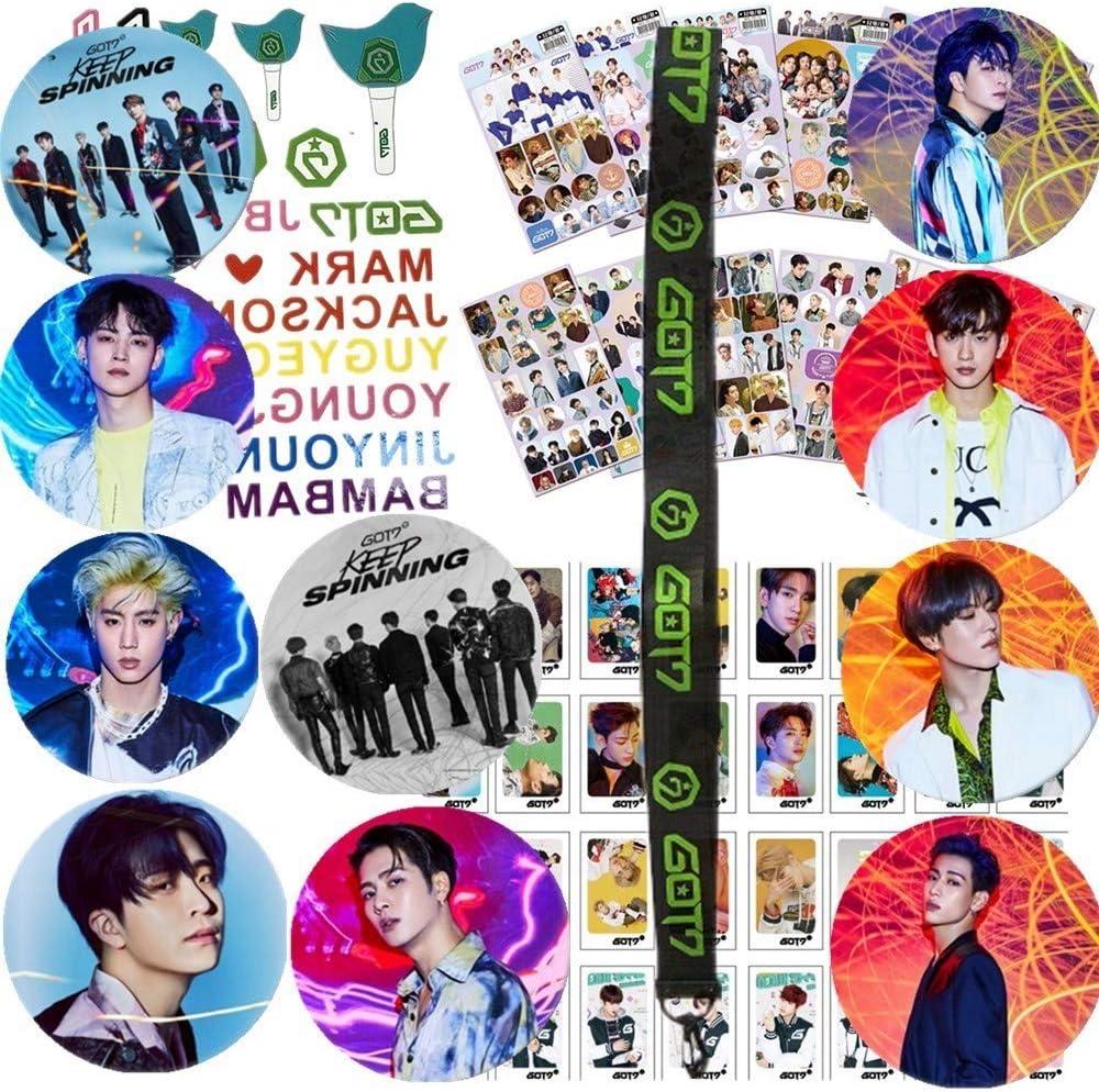 1PCS GOT7 Necklace Lanyard 12 Sheet GOT7 Stickers NANAFANS Koop GOT7 Gifts Set for I GOT7-32Pcs GOT7 Lomo Cards 1PCS Tattoo Stickers 9 Pack GOT7 Button Pins