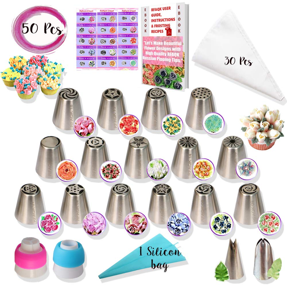 RFAQK - 50 Pcs Russian Piping Tips Set- 15 Numbered, Easy to Use Icing Nozzles - 2 Leaf Tips - 2 Couplers -30 Icing Bags -1 Pastry Bag- Pattern Chart,E.Book User Guide, cupcake decorating Kit supplies by RFAQK