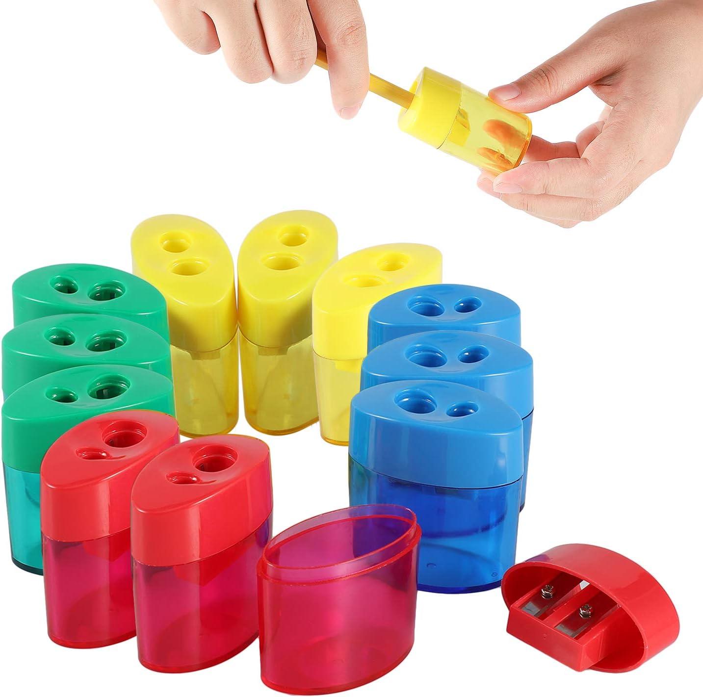 KIDMEN 2 Holes Pencil Sharpener, Pencil Sharpener for Kids, Pencil Sharpener Handheld-12 PACK : Office Products