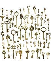 Hysagtek - Lot de 70clés passe-partout - Vintage - Clés antiques - Pendentifs - Breloques - Accessoires pour fabrication de bijoux - Bricolage - Colliers - Bracelets - Bronze