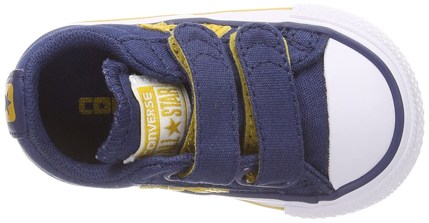 Converse Unisex Baby Star Player EV 2V OX Hausschuhe, Blau (Navy/Mineral Yellow/White 426), 18 EU