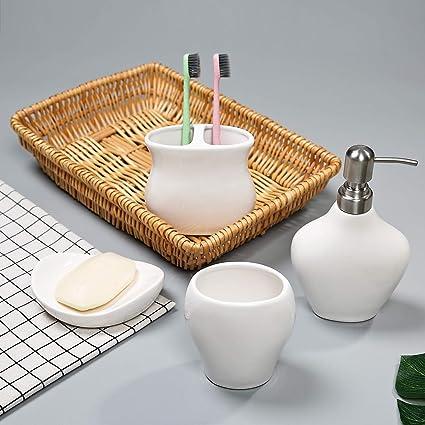 1 jabonera PEHOST UK3026 Hoja Blanca Ceramica Accesorios de ba/ño Set 4 1 dispensador de jab/ón 1 Cepillo de Dientes Titular 1 Vaso