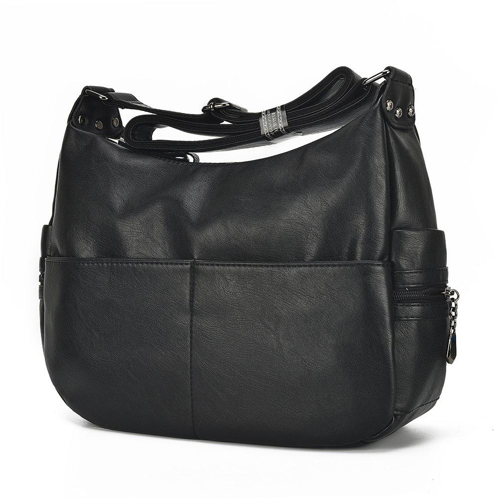 5c2af280ca8 Large Crossbody Bag Leparvi Purse Lady Double Zipper Shoulder Bag Hobo Style  Women Tote HandBag For Work(Black)  Handbags  Amazon.com