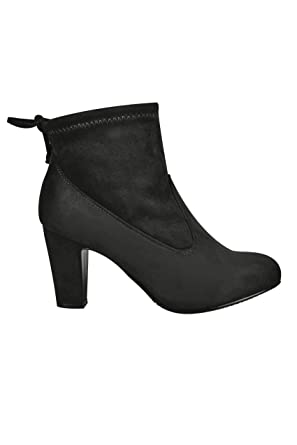 afdb267b33 Wide Fit Women's Stretch Heeled Ankle Boot With Tie Back In Eee Fit Size  10EEE Black
