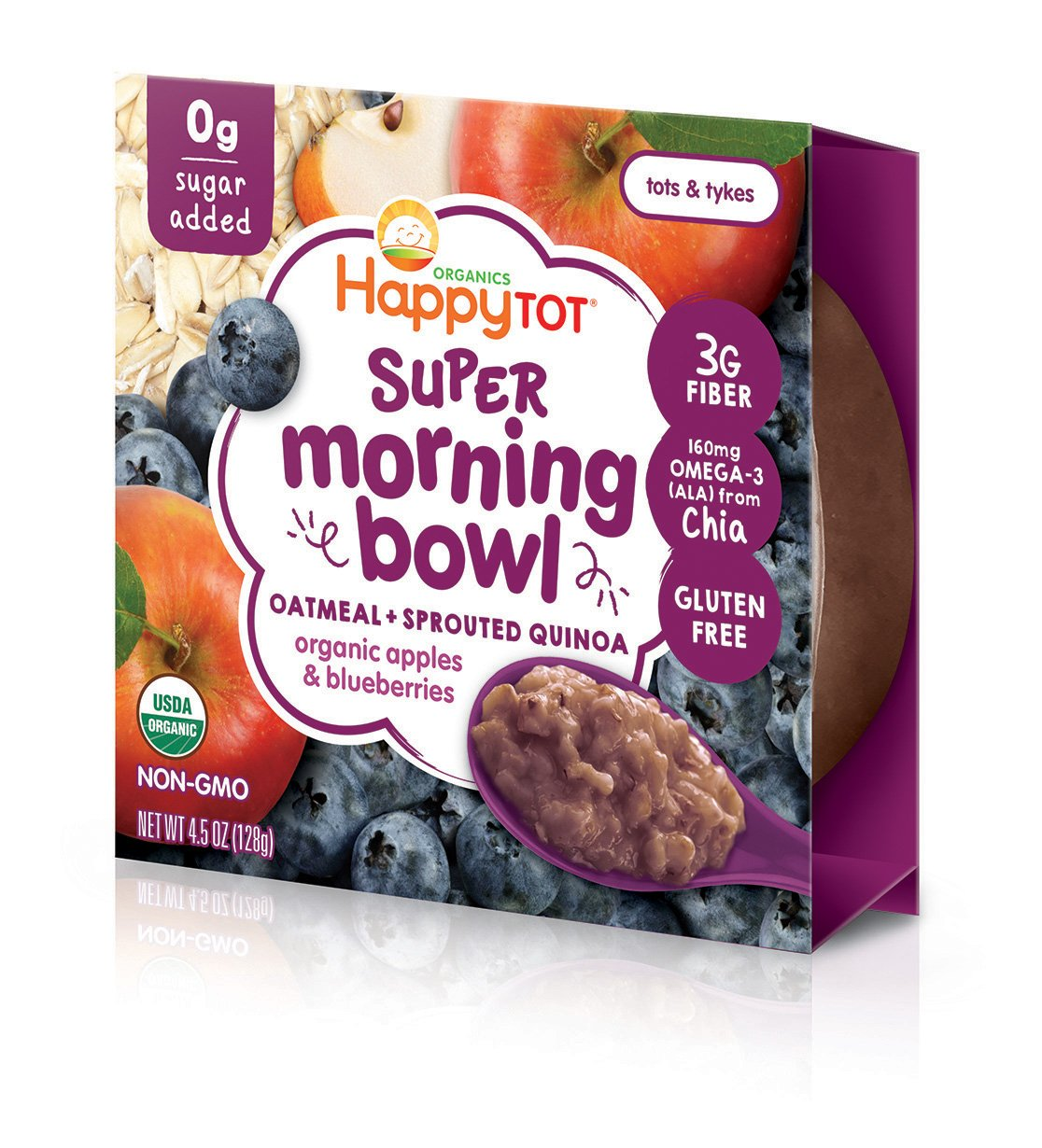 Happy Tot Super Morning Oatmeal Bowls Organic Toddler Food Apples and Blueberries, 4.5 Ounce Bowls (Pack of 8) Baby/Toddler Food Breakfast Bowl, Organic Toddler Breakfast, Yogurt Fruit & Oats by Happy Tot