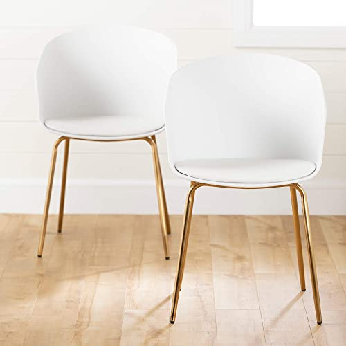 South Shore Flam Dining Chairs-White and Gold