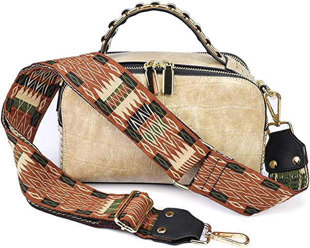 Wide Shoulder Strap Adjustable Length Handbag Purse Strap Guitar Style Multicolor Fabric Replacement Strap