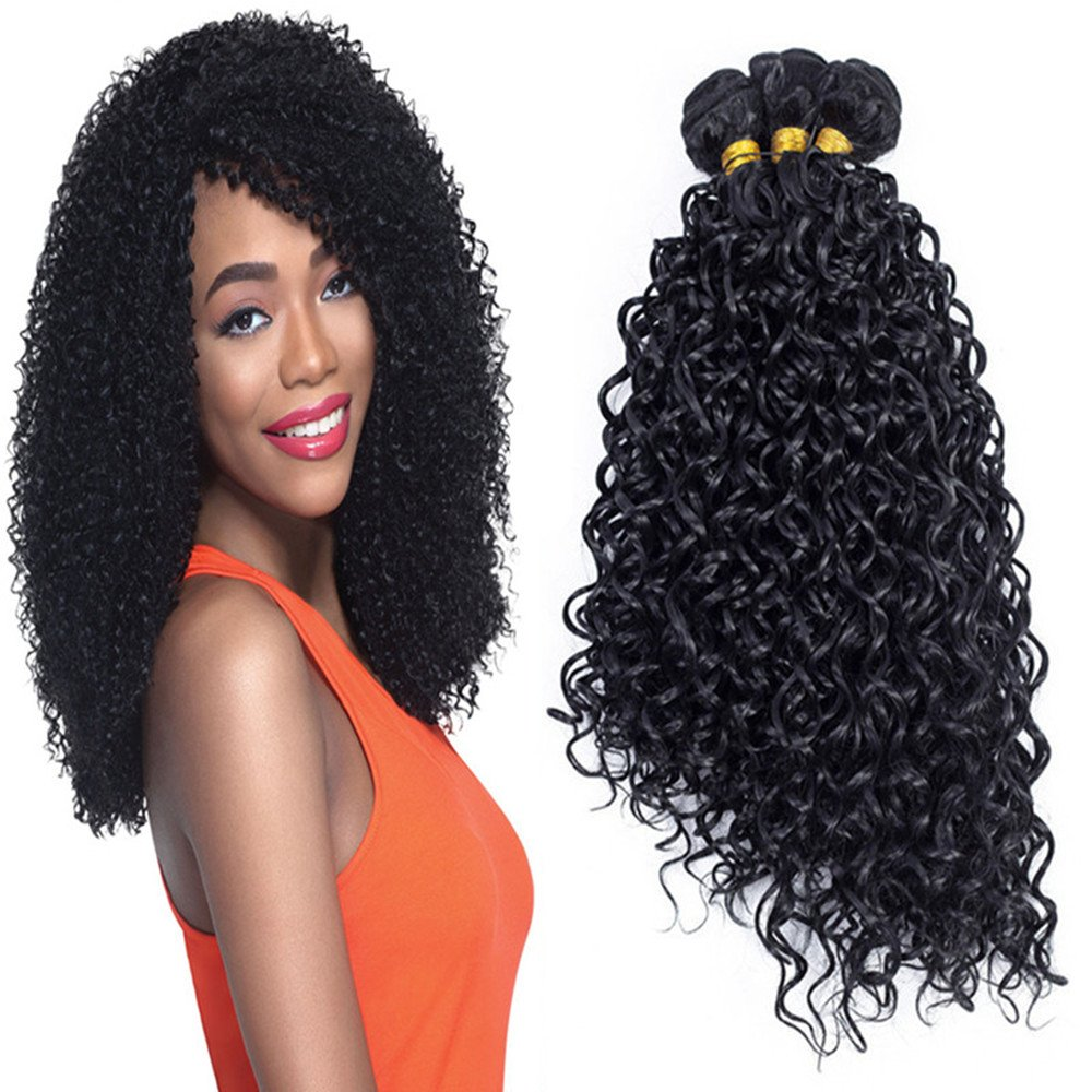 Amazon Kinkys Curly Synthetic Hair Weave 3 Bundles Extensions