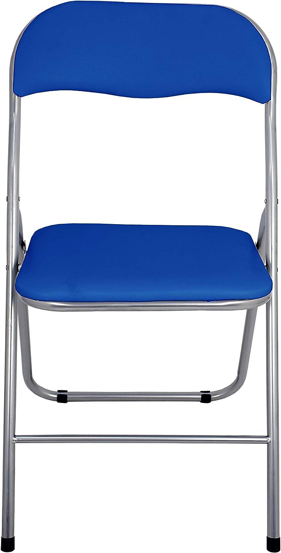 La Silla Española Sevilla Pack de Sillas Plegables Acolchadas, PVC, Aluminio, Azul, 46x43.5x78 cm, 4 Unidades