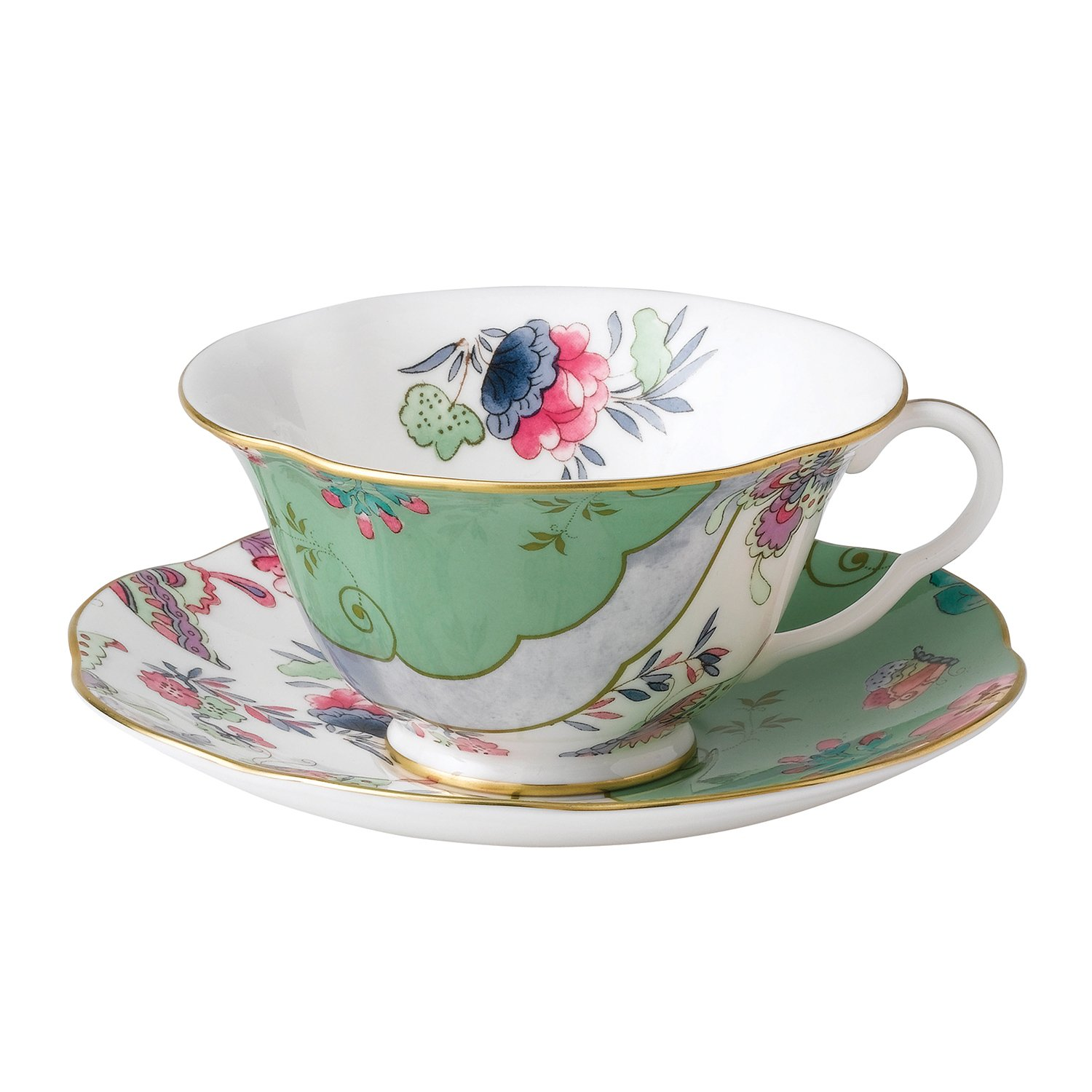 Wedgwood Harlequin Butterfly Bloom Teacup and Saucer Set, Blue Peony 5C10780054