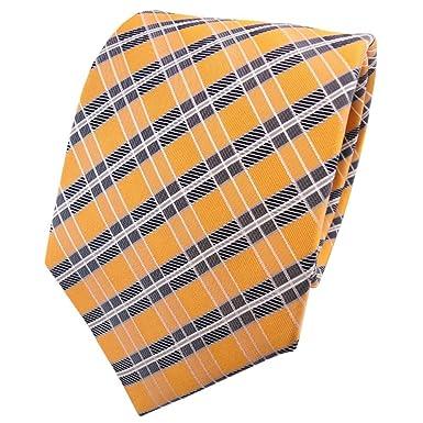 Diseñador corbata de seda - amarillo-naranja gris plata rayas ...