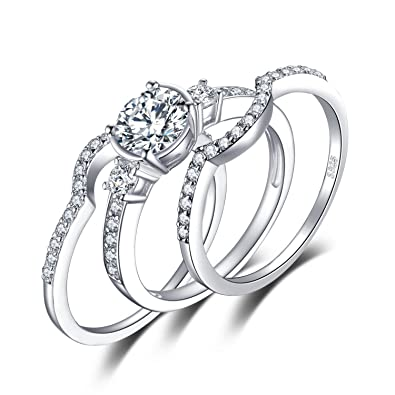 JewelryPalace 3 Stones 1.5ct Cubic Zirconia 3 Pcs Anniversary Wedding Band Engagement Ring Bridal Sets 925 Sterling Silver tlxCvl